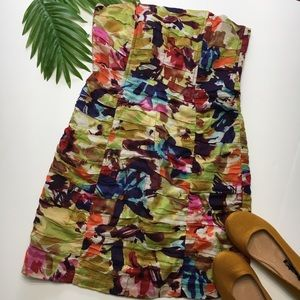 BB Dakota Strapless Dress, Floral Watercolor, sz 4